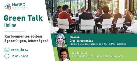 HuGBC Green Talk - Karbonmentes építési ágazat? Igen, lehetséges! - február 24.